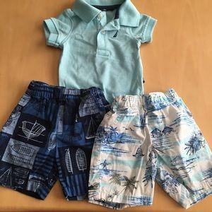 Nautica: 1 onesie 2 shorts